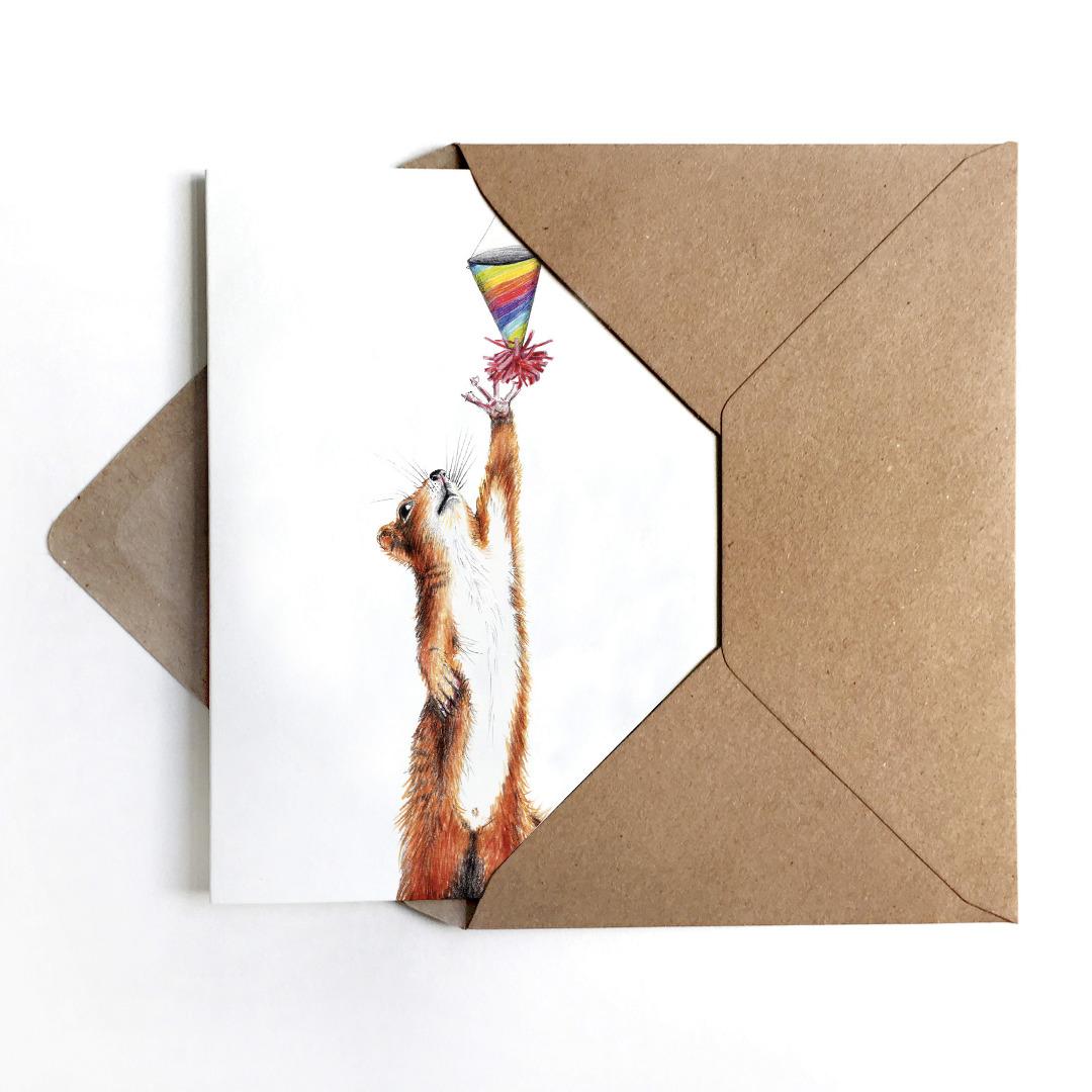 Grußkarte Partyhörnchen, Geburtstagskarte