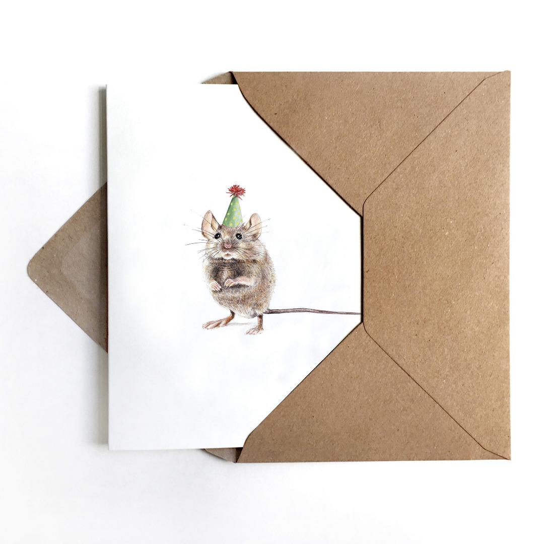 Grußkarte Partymaus, Geburtstagskarte