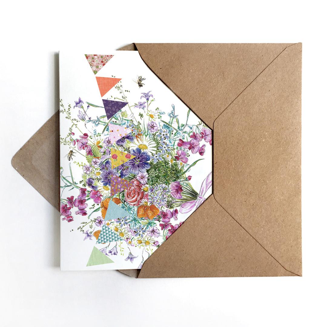 Grußkarte Sommerblumen, Glückwunschkarte