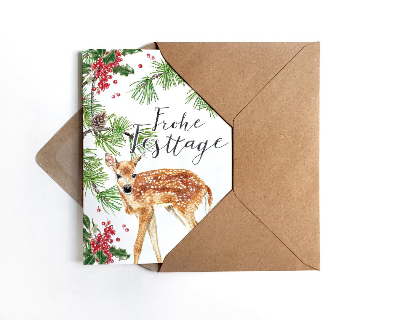 Weihnachtskarte Reh Klappkarte Grusskarte