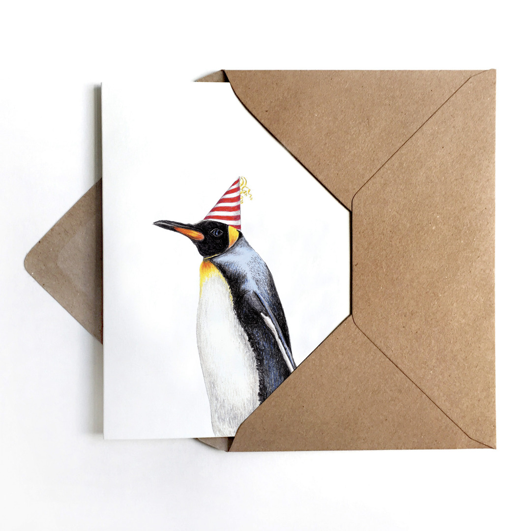 Grußkarte Partypinguin, Geburtstagskarte