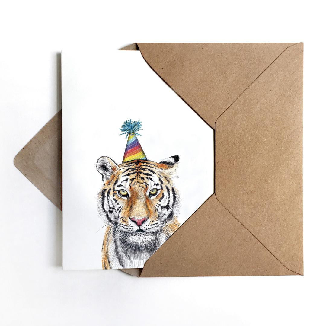 Grußkarte Partytiger Geburtstagskarte