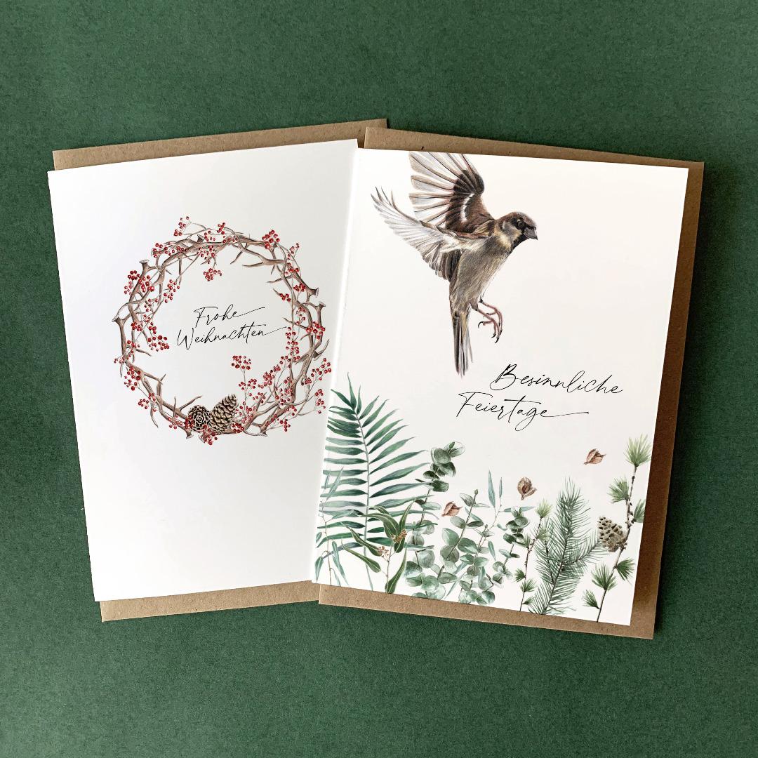 Grußkarten Set Weihnachten 2 Weihnachtskarten