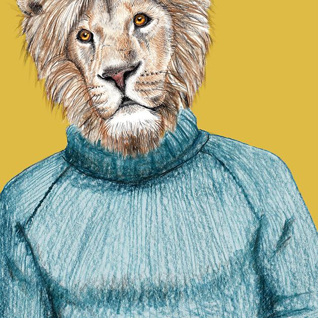 Zeichnung Löwe, Poster, Kunstdruck, A4