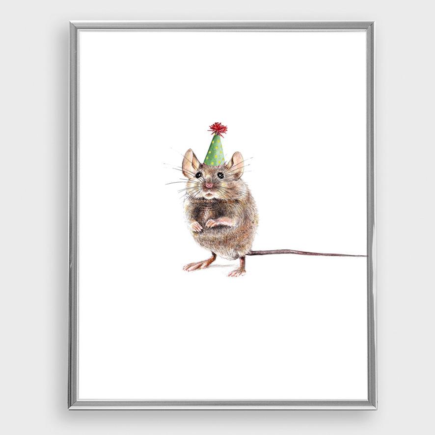 Partymaus Poster Kunstdruck A4 Maus Zeichnung