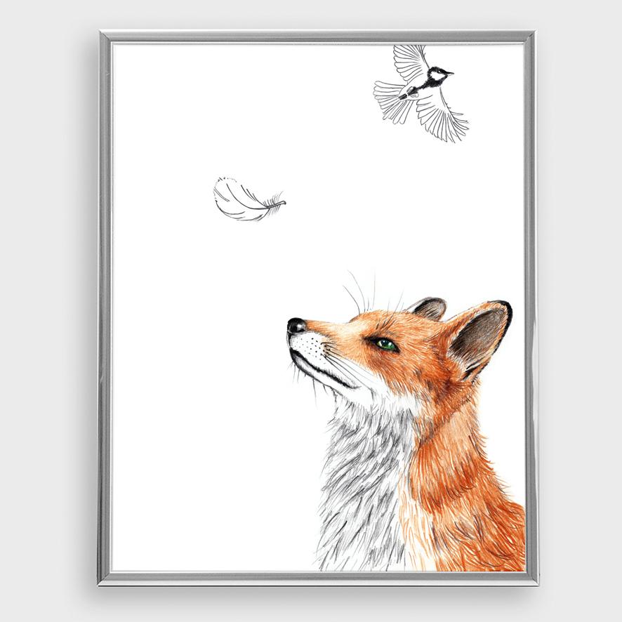 Zeichnung Fuchs mit Feder, Poster, Kunstdruck, A4 - 1