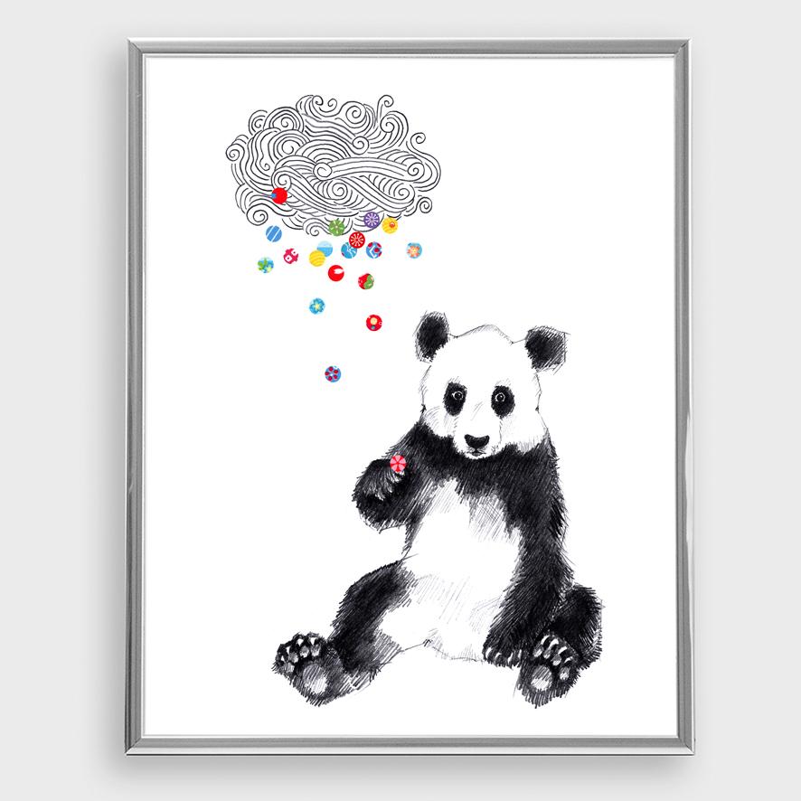 Panda Bär Konfetti Poster Kunstdruck Zeichnung