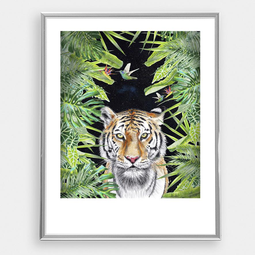 Tiger nachts im Dschungel, Poster, Kunstdruck, DIN A4, Tiger Zeichnung - 2