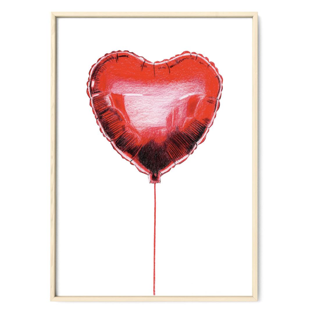 Herzluftballon Poster Kunstdruck Zeichnung