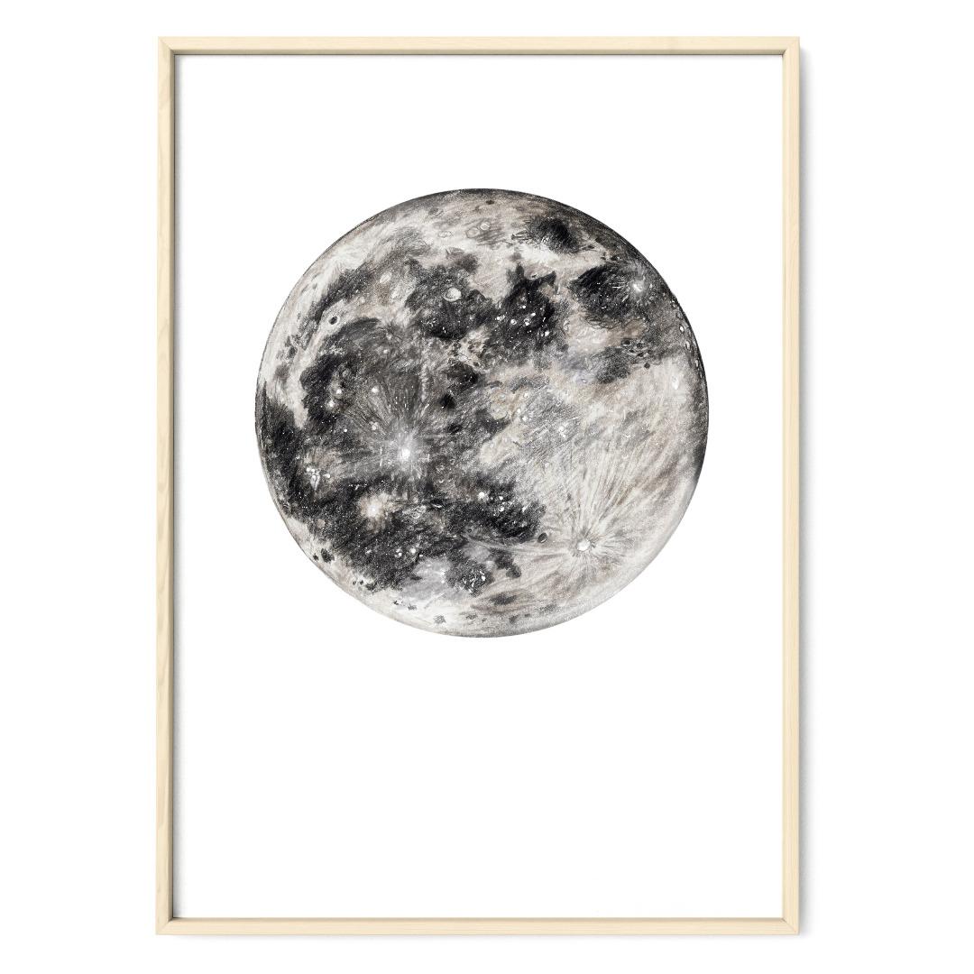 Mond Zeichnung Poster Kunstdruck
