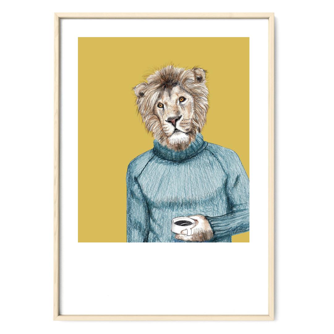 Löwe Poster Kunstdruck DIN A4