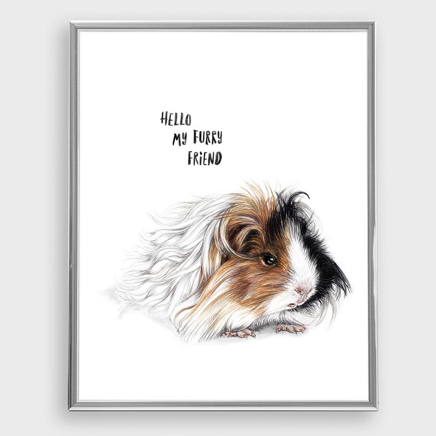Furry Friend Poster Kunstdruck A4 Meerschweinchen