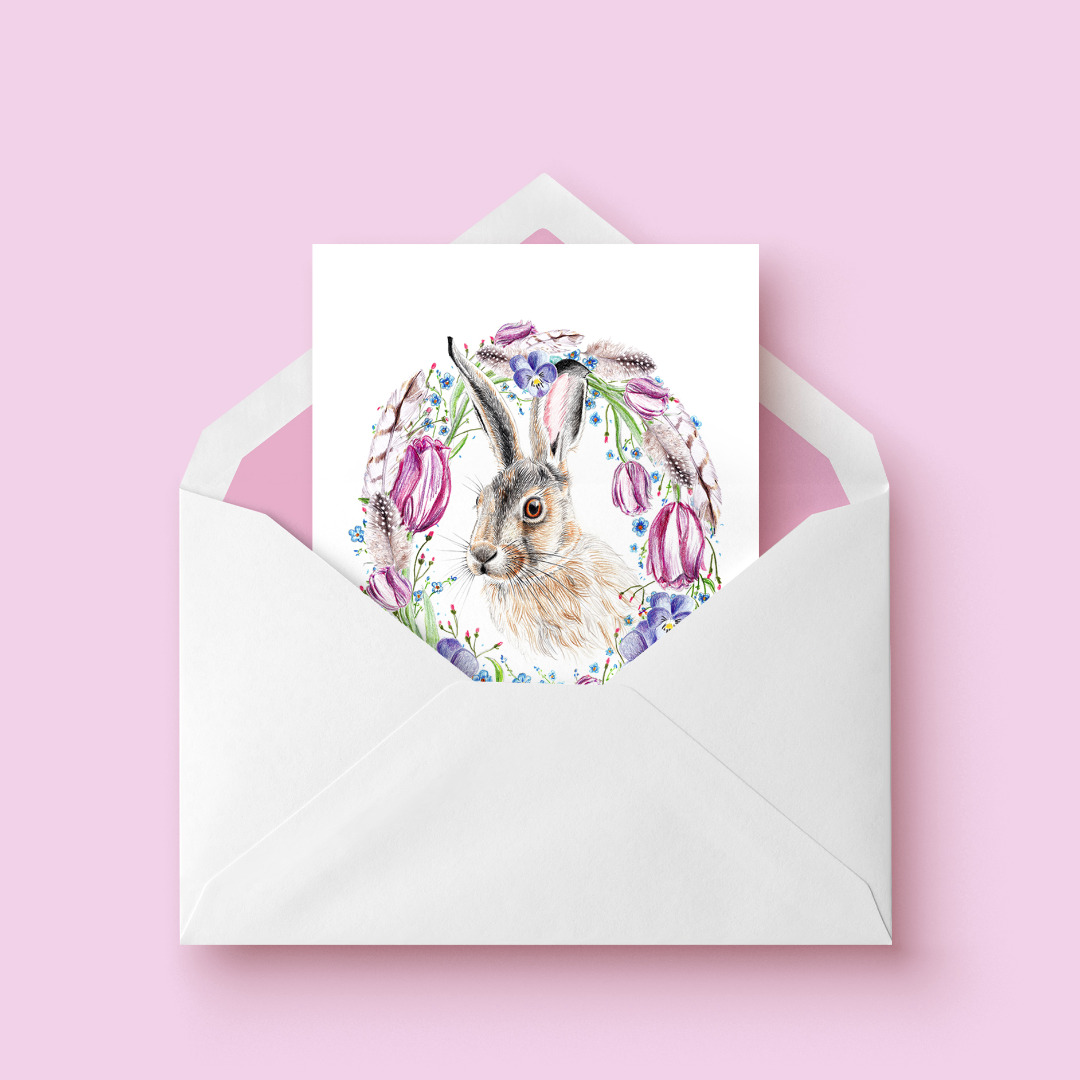 Osterkarte, Klappkarte, Grußkarte Ostern Hase mit Blütenkranz - 4