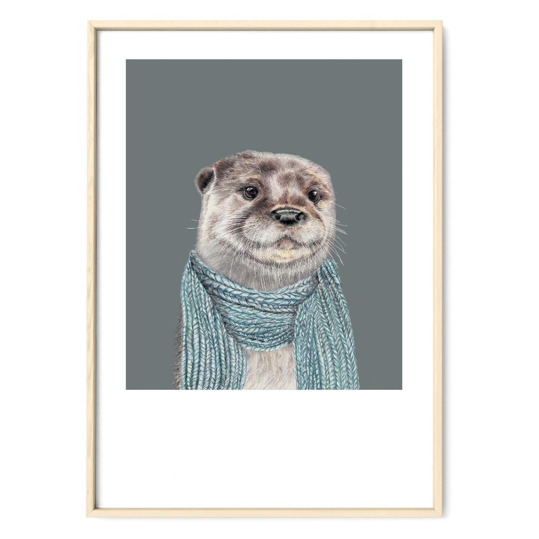Otter Zeichnung Poster Kunstdruck Tierportrait