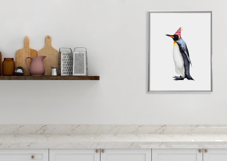 Zeichnung Pinguin Partypinguin Poster Kunstdruck A4 - 2