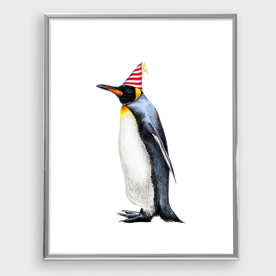 Zeichnung Pinguin Partypinguin Poster Kunstdruck A4