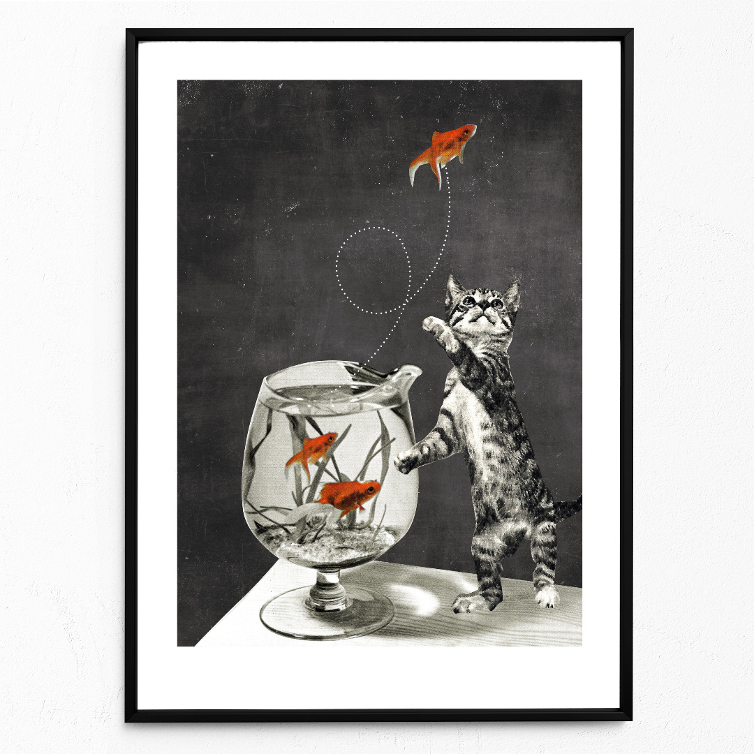 Goldfischglas Poster Kunstdruck DIN A3