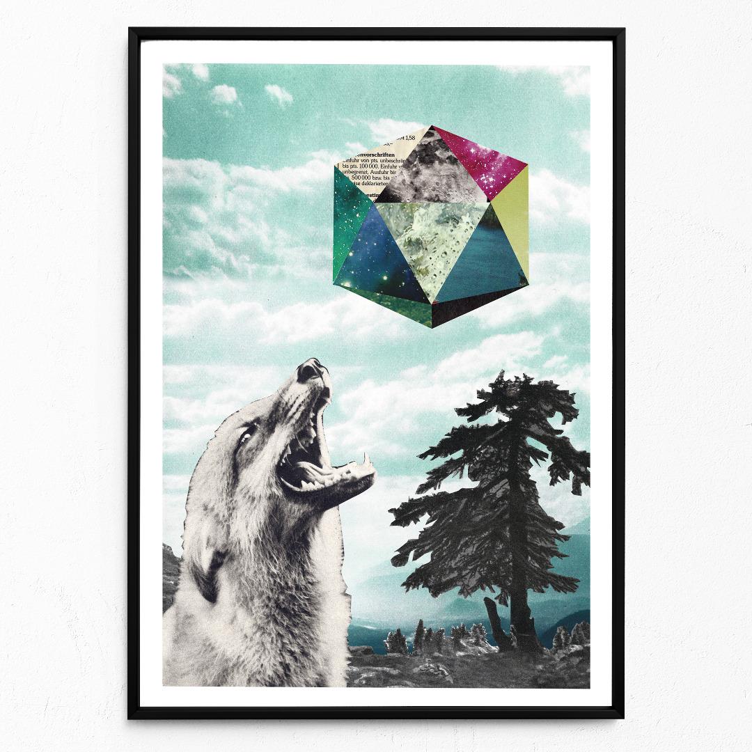 Collage Mondsüchtig Fuchsposter Kunstdruck Tierposter