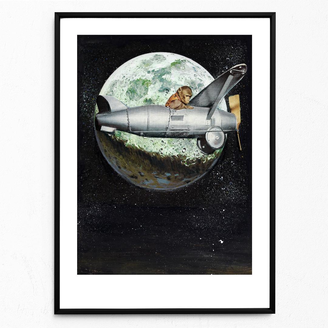 Spacemonkey Poster Kunstdruck DIN A3