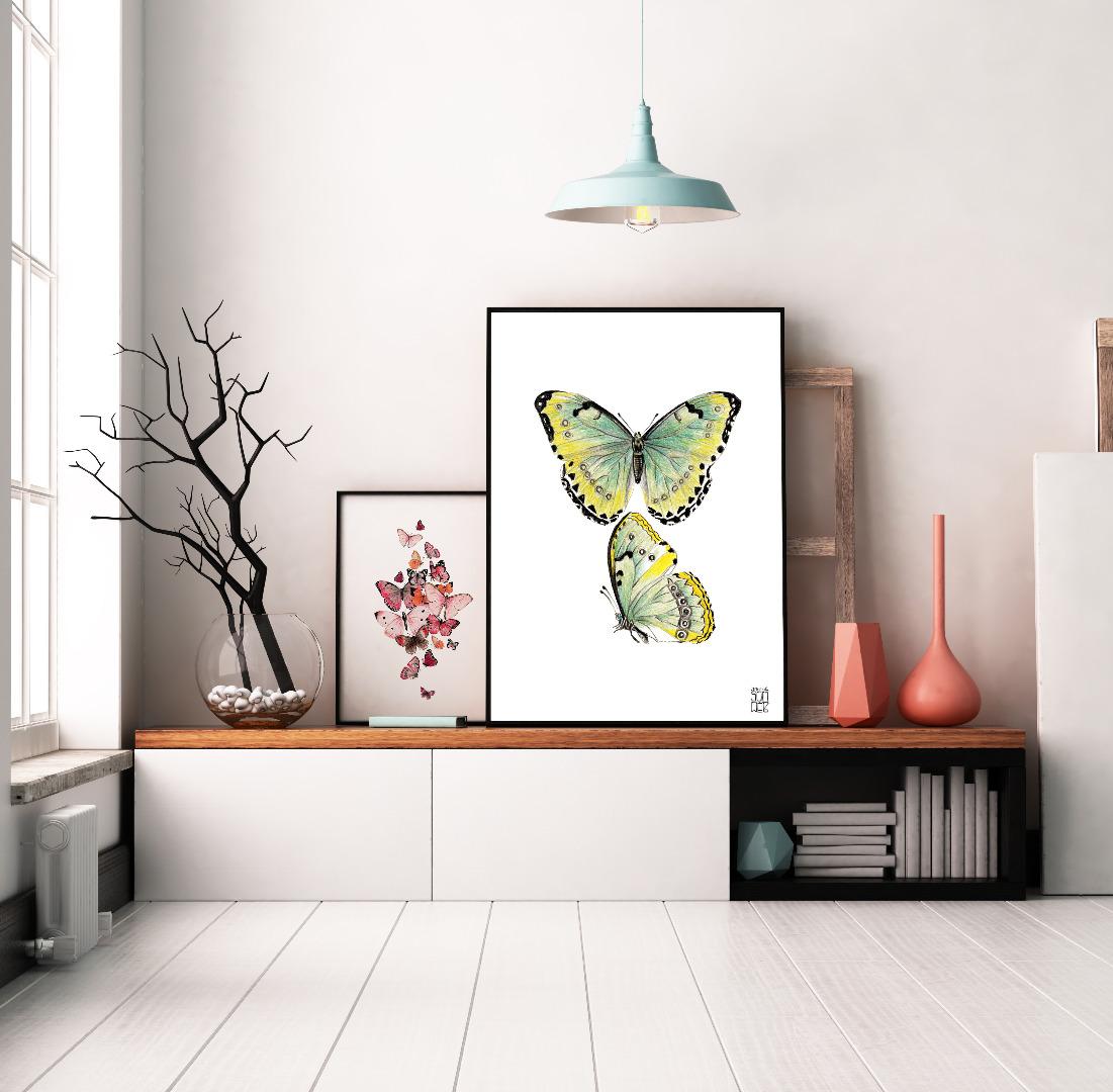 Schmetterlinge gelb-grün Poster Kunstdruck Zeichnung 2