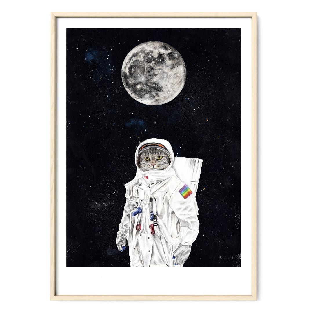 Spacecat Zeichnung Poster Kunstdruck A4