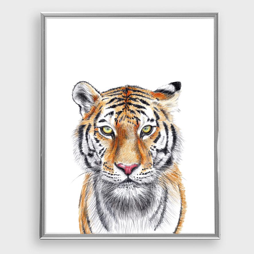 Tiger Poster Kunstdruck A4 Tiger Zeichnung