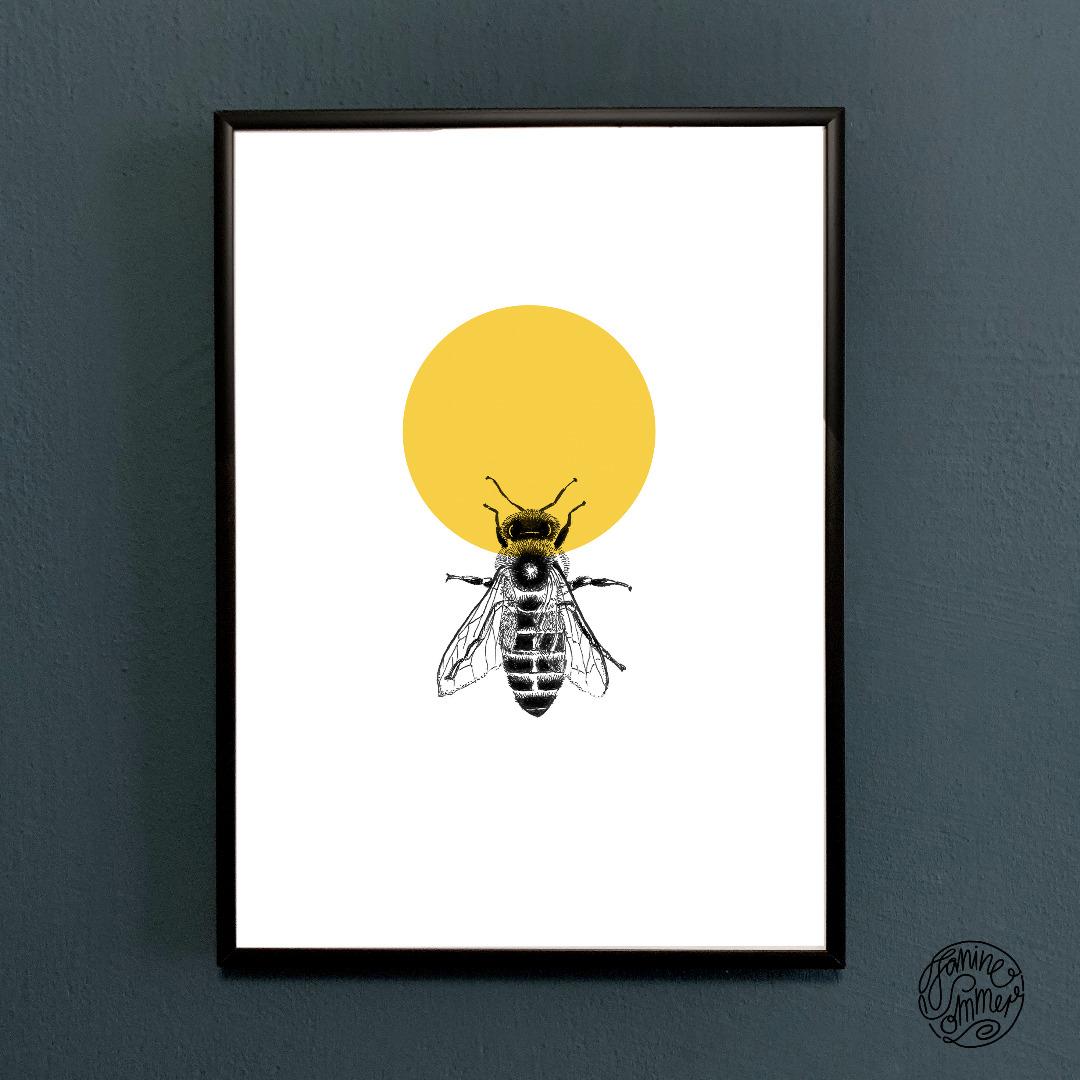Honigbiene, Biene, Poster, Kunstdruck, A4, Insektenzeichnung, Biene gezeichnet - 2