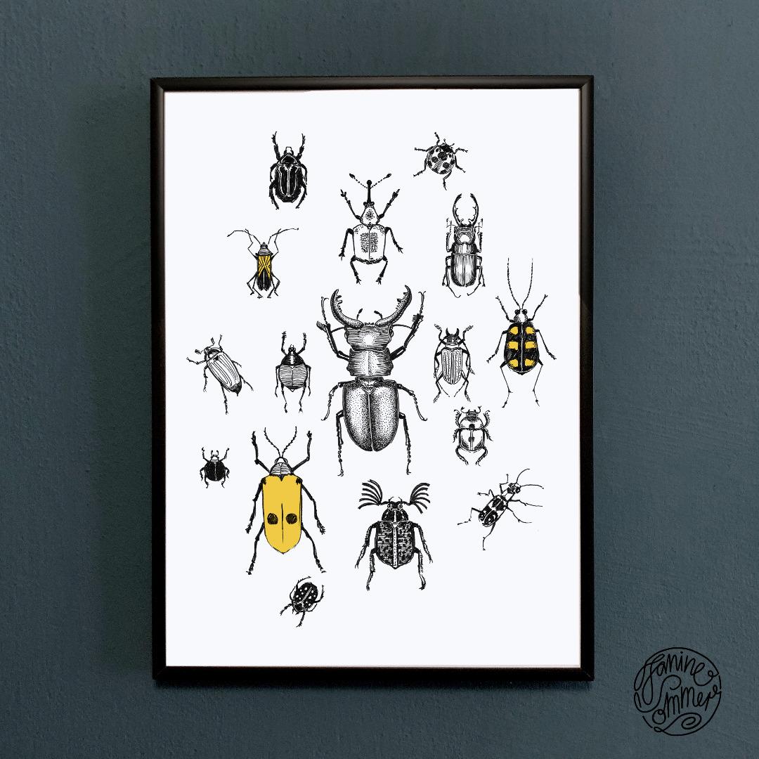 Käferparade Käfer Poster Kunstdruck A4 Insektenzeichnung - 2