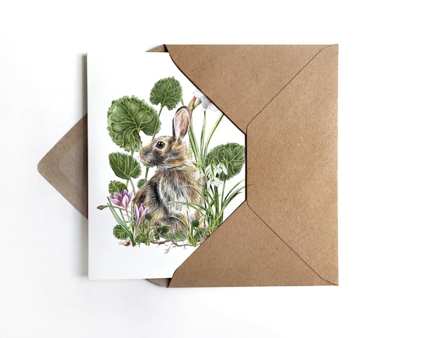 Grußkarte Hase mit Frühjahrsblühern Osterkarte