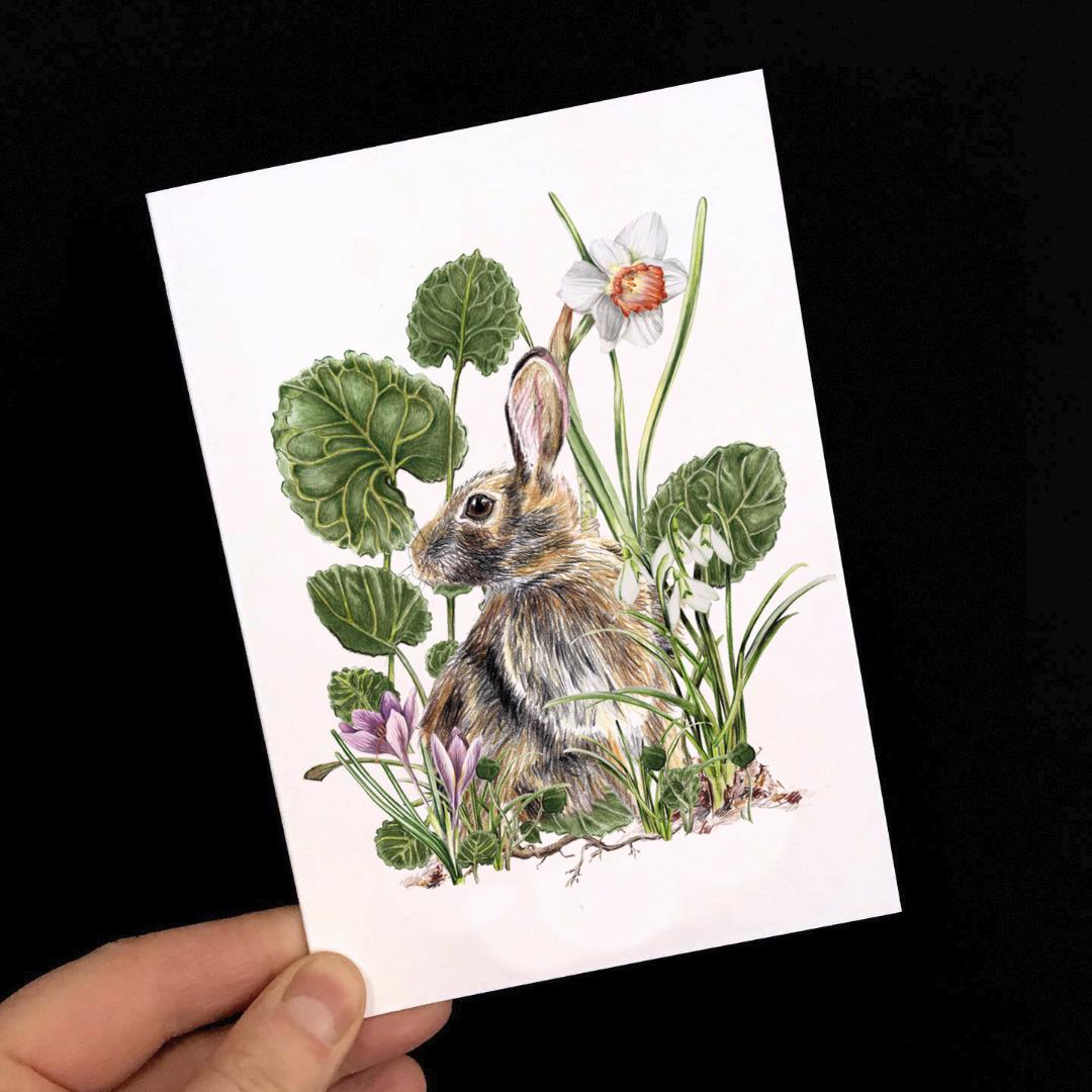 Grußkarte Hase mit Frühjahrsblühern Osterkarte 2