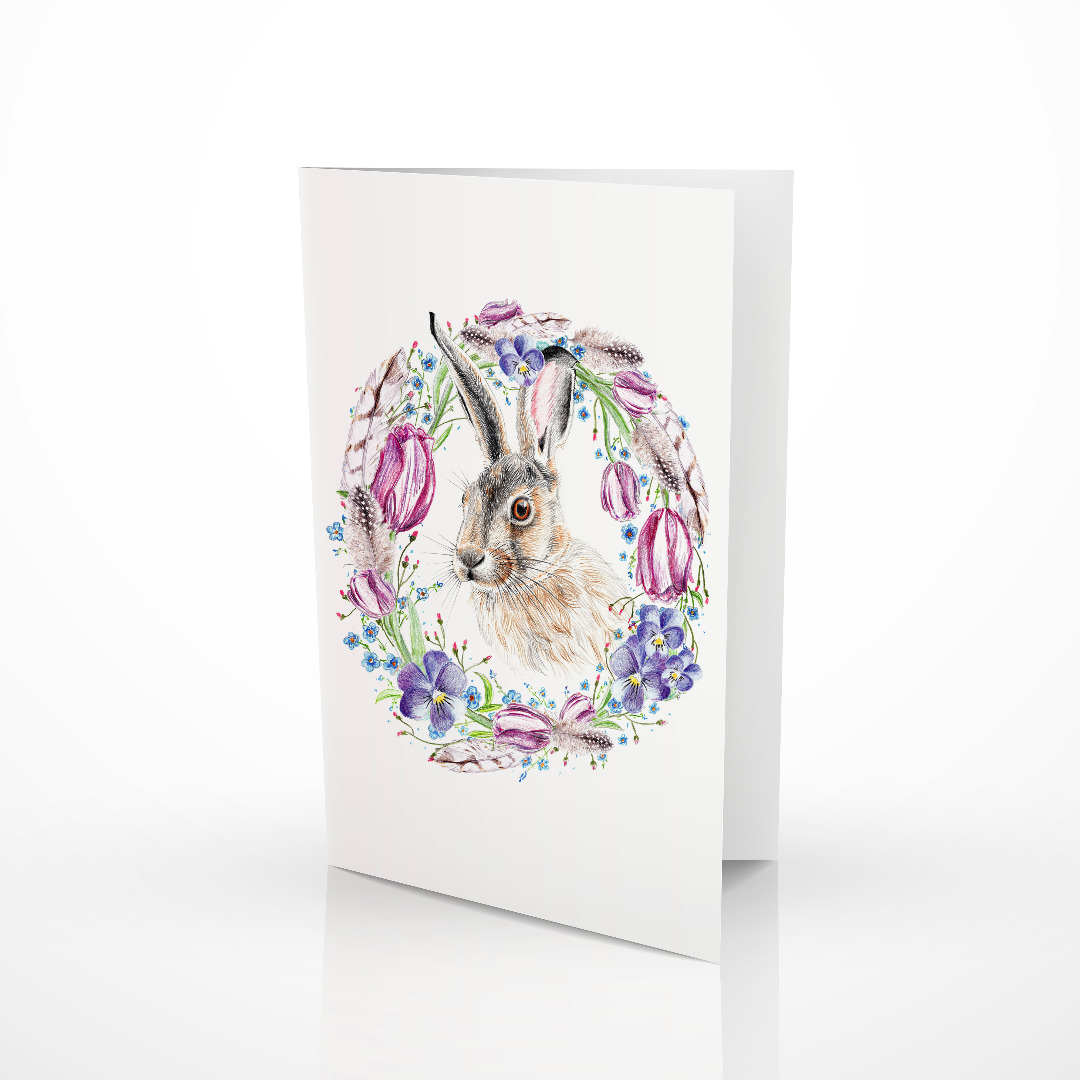 Osterkarte, Klappkarte, Grußkarte Ostern Hase mit Blütenkranz
