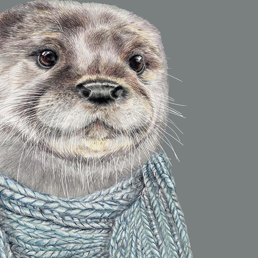Otter Zeichnung Poster Kunstdruck Tierportrait 2
