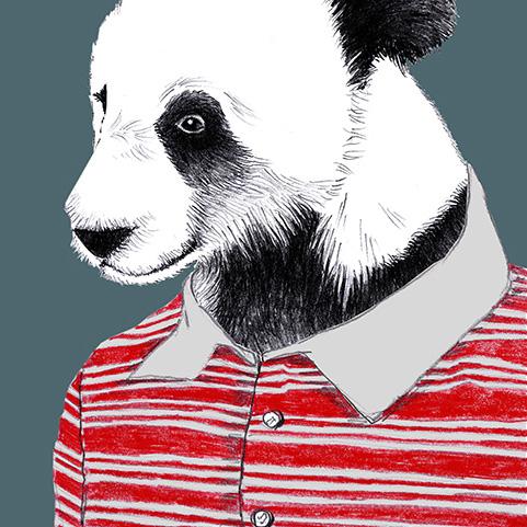Zeichnung Panda, Poster, Kunstdruck, A4