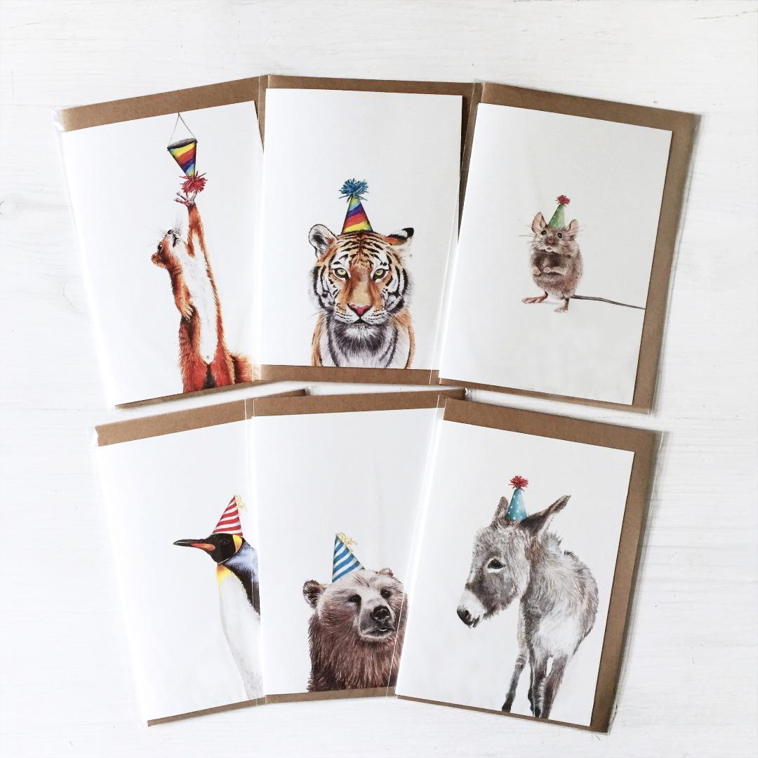 6x Grusskarte Partyanimals Glueckwunschkarte Geburtstagskarte Party Geburtstagparty Tiere mit Partyhut Illustration