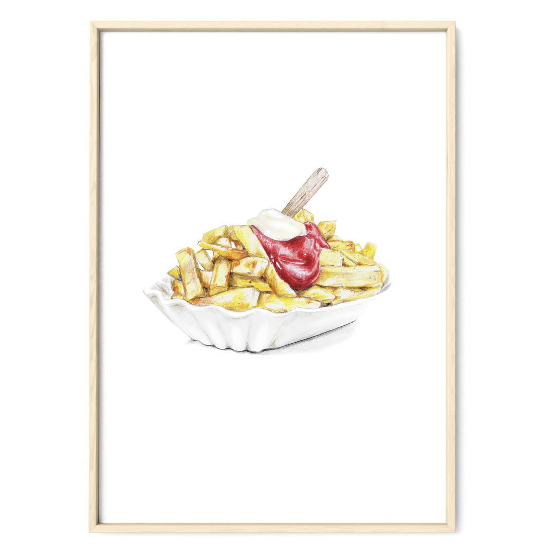 Pommes rot-weiß Poster Kunstdruck Zeichnung