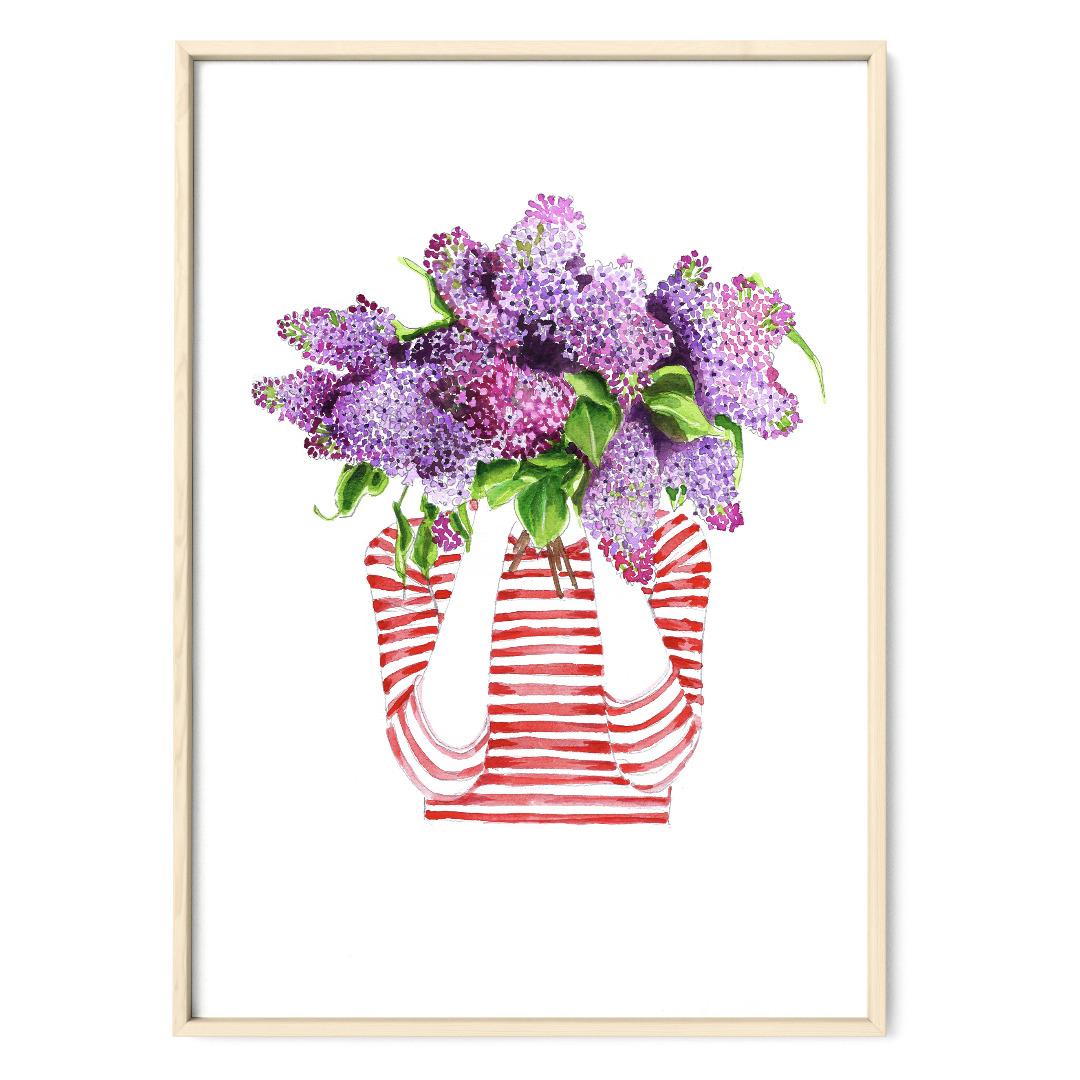 Ich träume von Flieder , Poster, Kunstdruck, Flieder, Fliederstrauß, Frühling - 1