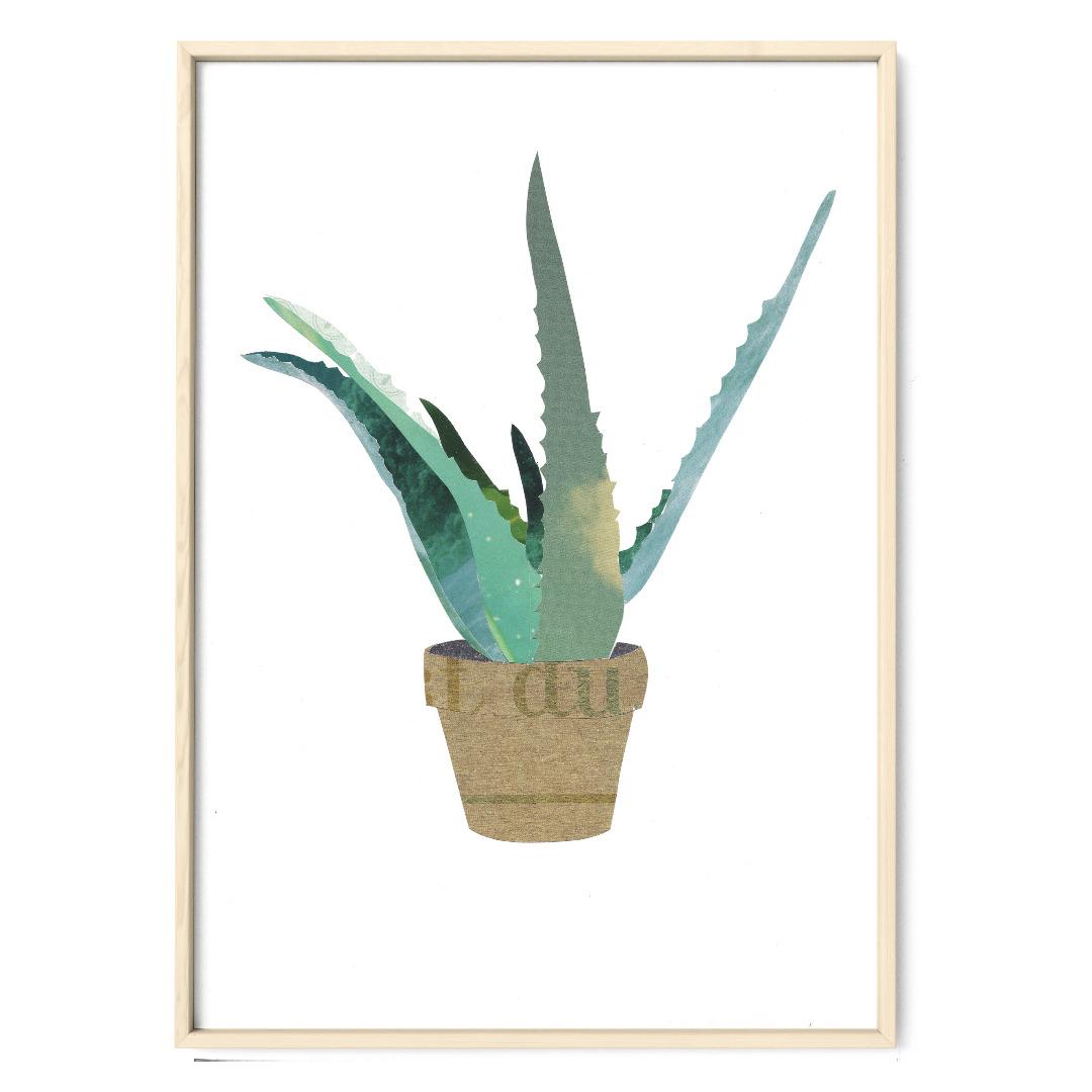 Collage Aloevera Kunstdruck Pflanzenposter - 1