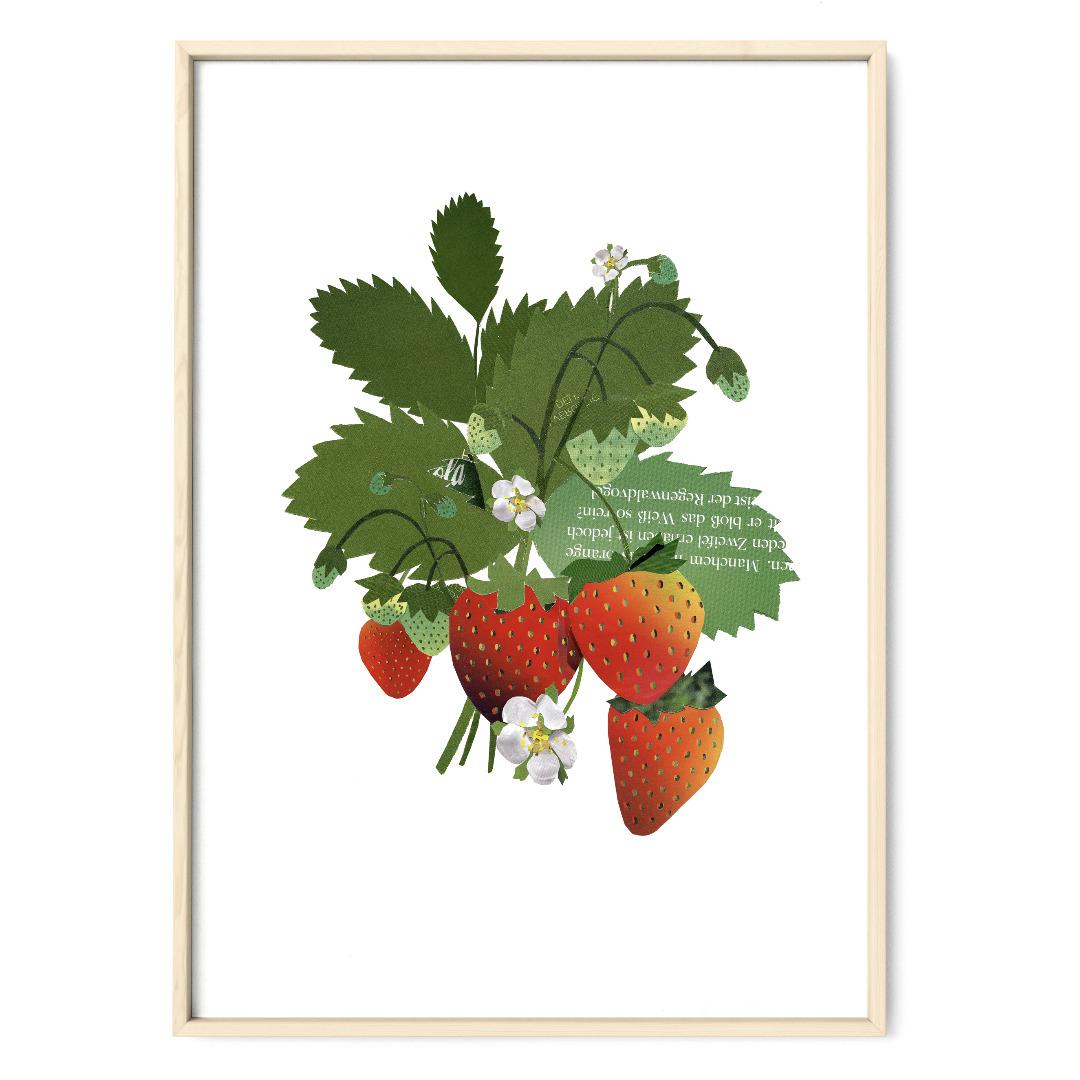 Collage Erdbeerpflanze Poster Kunstdruck Pflanzenposter - 1