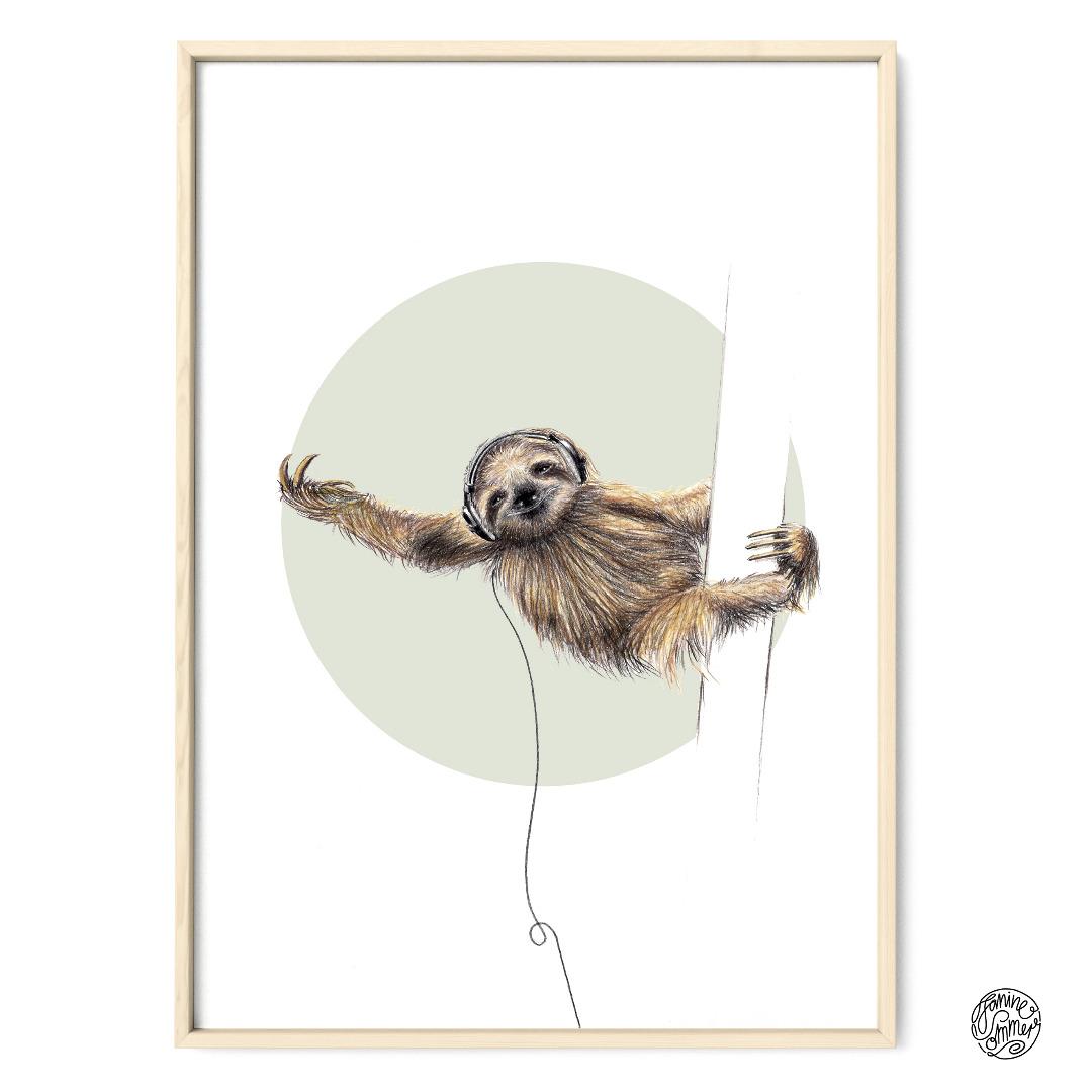 Faultier Poster Kunstdruck Zeichnung