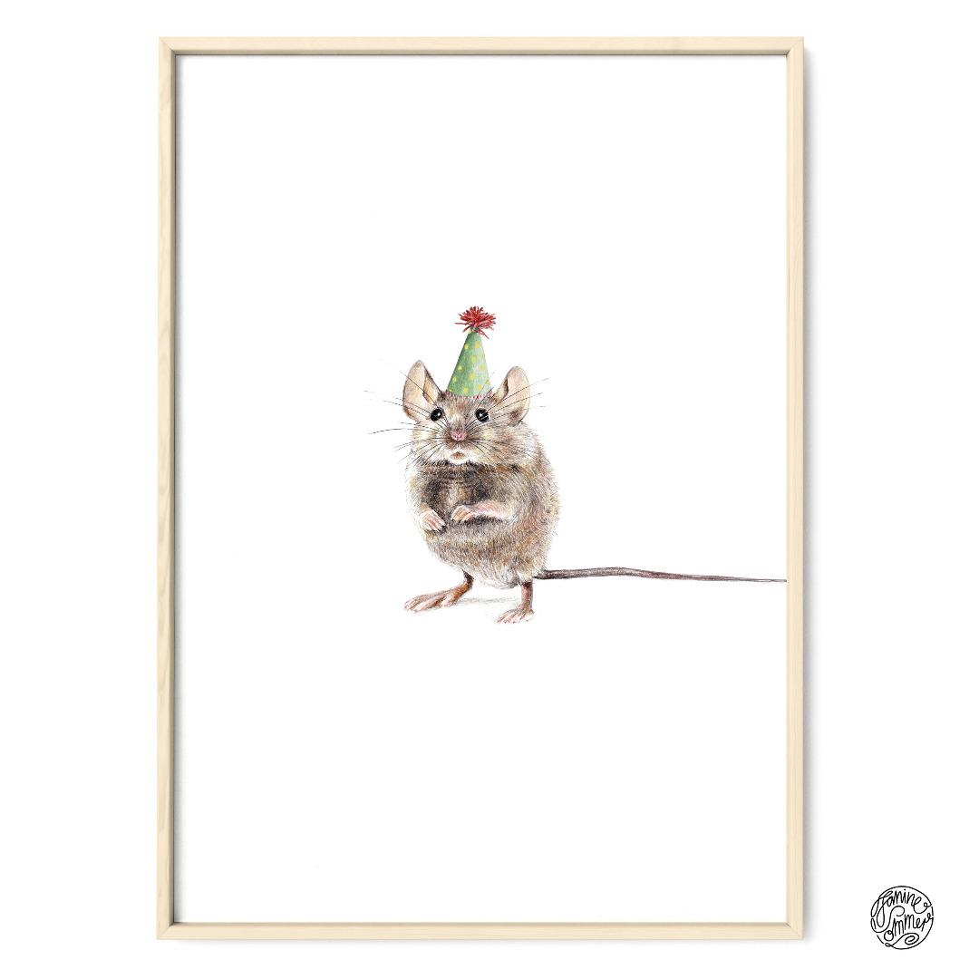 Partymaus Poster Kunstdruck Maus Zeichnung