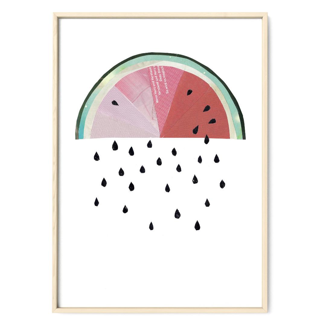 Collage Melonenregen Poster Melone Kunstdruck Melonenposter Pflanzenposter