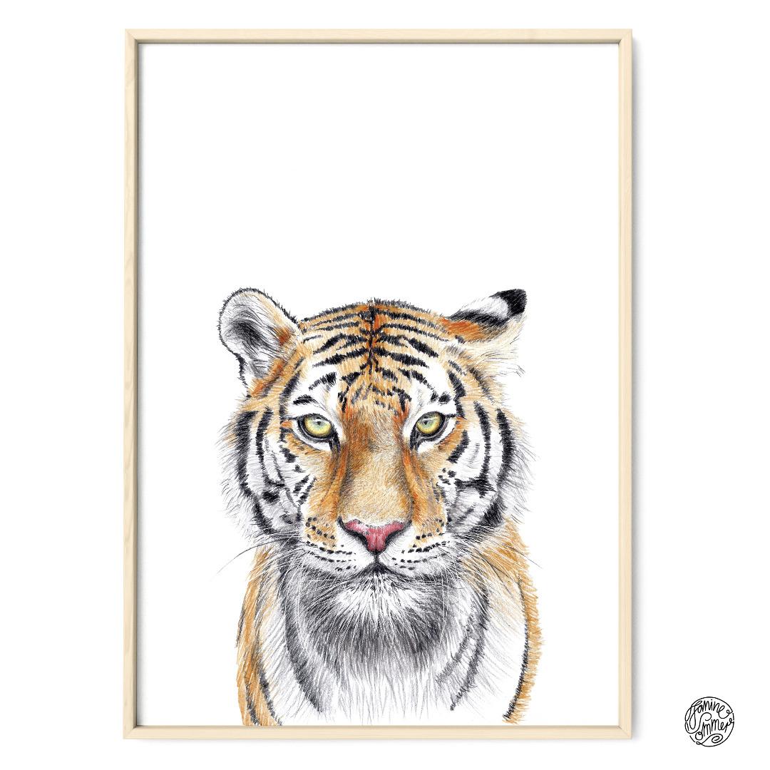Tiger Poster Kunstdruck Tigerzeichnung