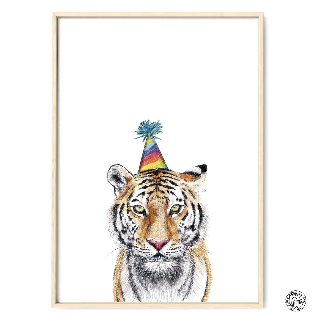 Partytiger Poster Kunstdruck Tiger Zeichnung