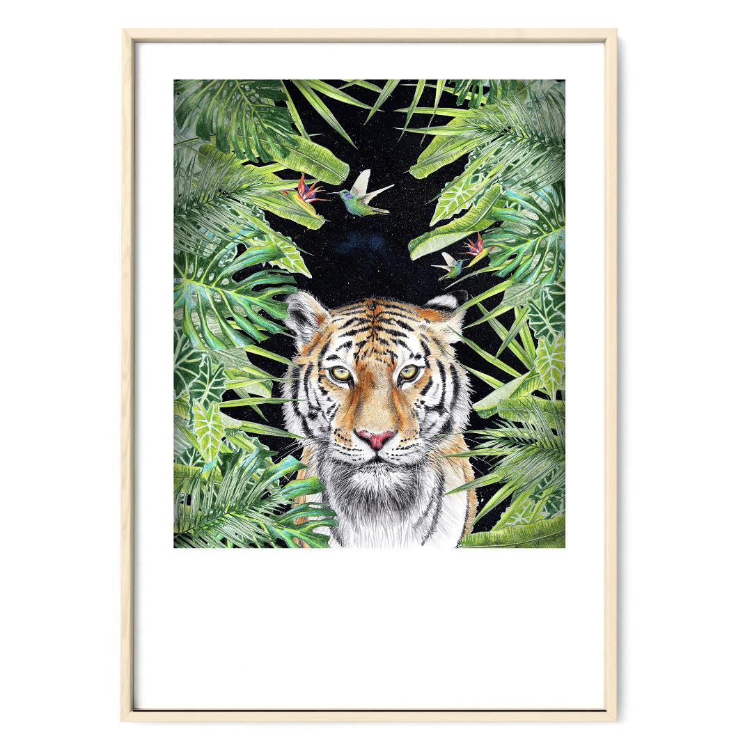Tiger nachts im Dschungel, Poster, Kunstdruck, DIN A4, Tiger Zeichnung - 1