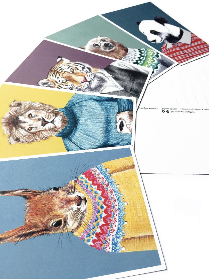 Postkartenset Tierportraits 5 Postkarten im Set