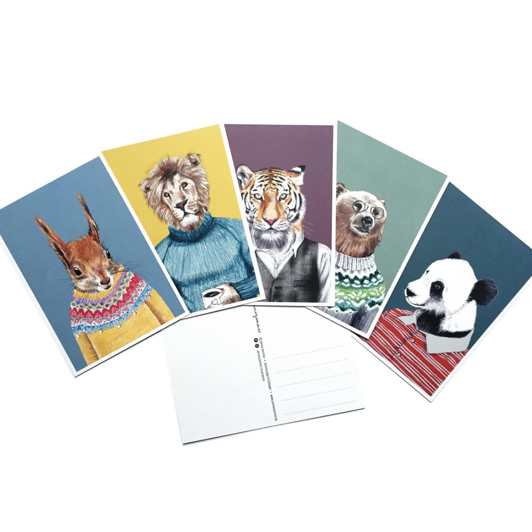 Postkartenset Tierportraits, 5 Postkarten im Set - 1