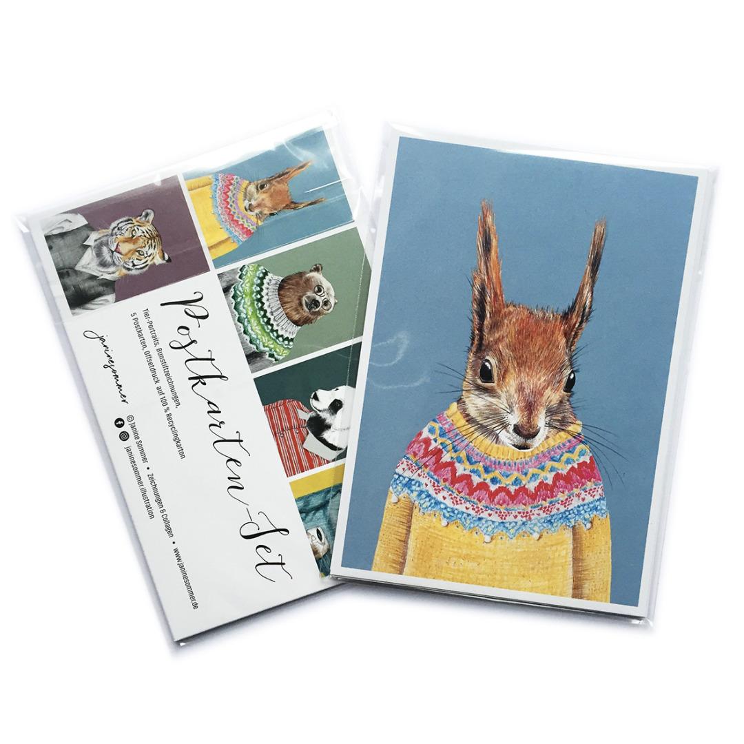 Postkartenset Tierportraits, 5 Postkarten im Set - 3