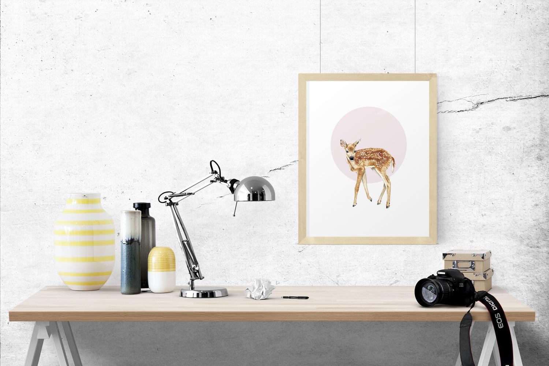 Zeichnung Rehkitz Poster Kunstdruck Reh A4