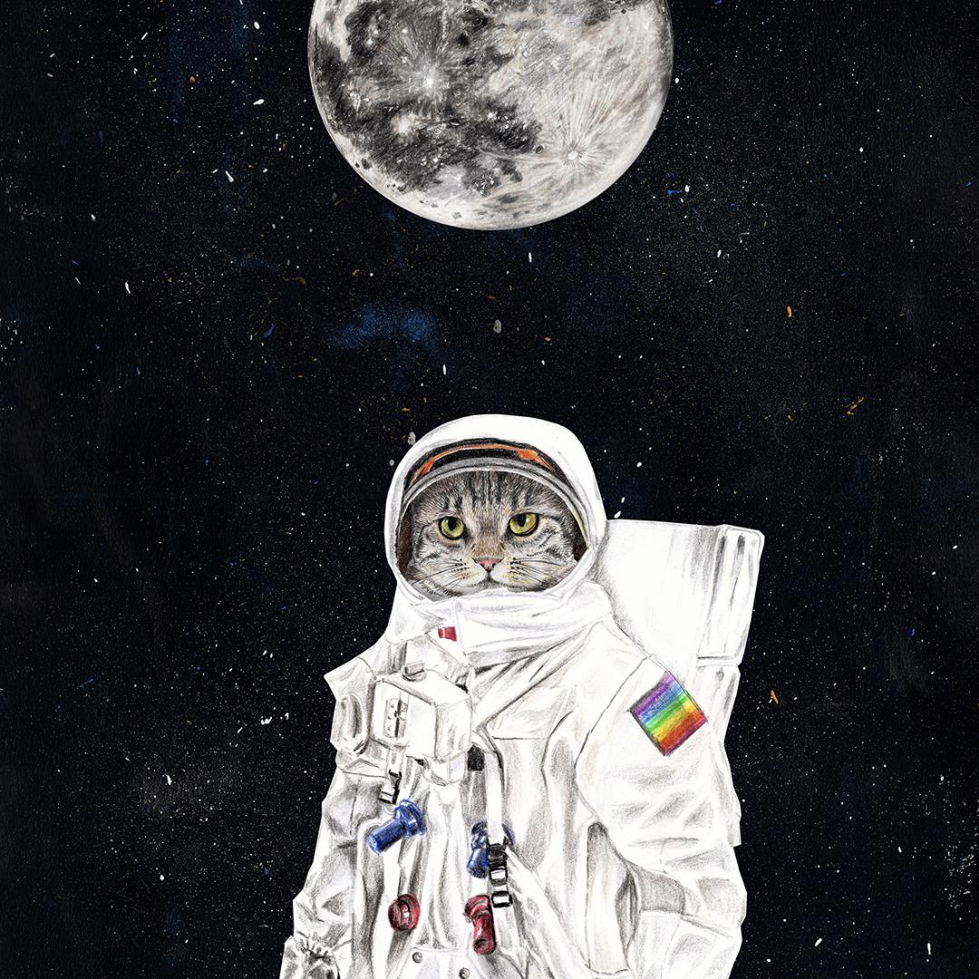 Spacecat Zeichnung Poster Kunstdruck A4 2