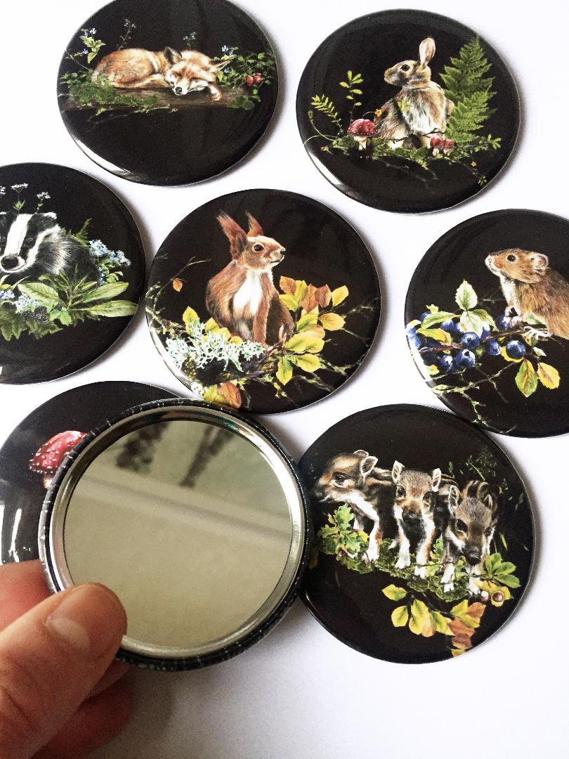 kleiner Taschenspiegel Waldtiere